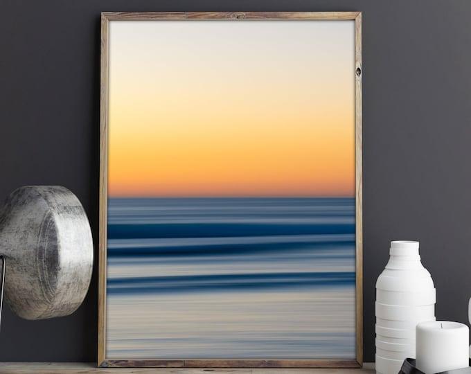 Ocean Landscape Photography - Abstract Ocean Print - Golden Hour Poster - Sunset Beach Print