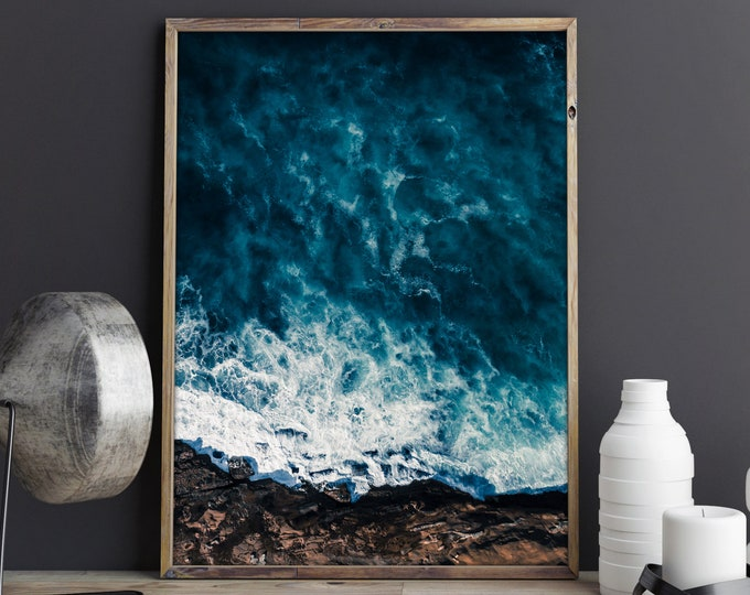 Featured listing image: Deep Blue, Beach Aerial Photography, Drone Photography, Large Art Prints, Large Art Photography, Large Wall Art, Extra Large Wall Art