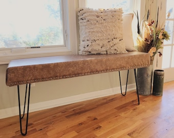 Faux Leather Mid Century Modern Bench   SOLD!