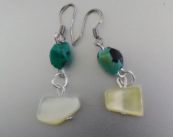 Turquoise, Beaded Dangle Earrings, Sterling Silver Hook Wires
