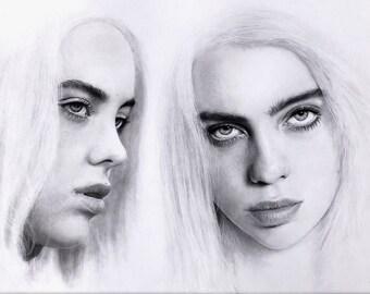 Billie Eilish graphite pencil drawing - Billie Eilish original portrait - Realistic pencil portrait
