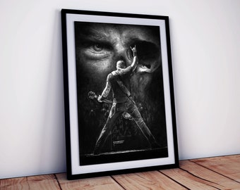 Metallica poster LARGE L.E. 25 - Limited Edition, numbered and signed - James Hetfield - Realistic pencil portrait - Wall Art - Heavy Metal