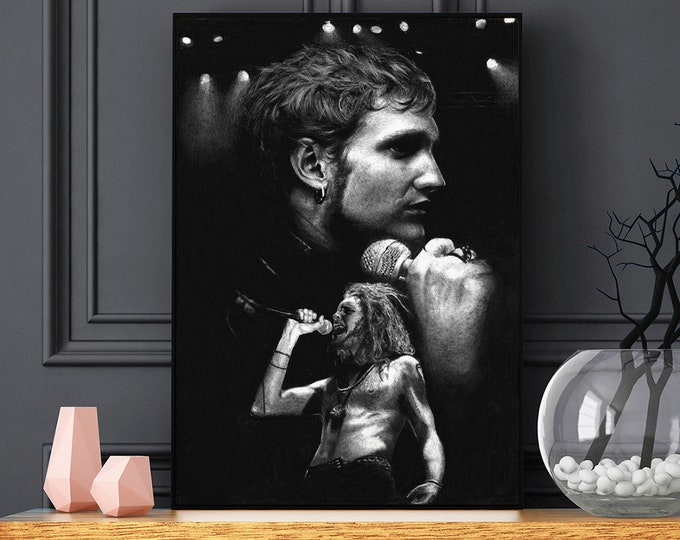 Featured listing image: Layne Staley Black and Grey Alice in Chains poster - Layne Staley portrait - Realistic pencil portrait - Signed print - gift - AIC Wall Art