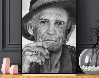 Keith Richards print - DIGITAL printable poster - Download - Rolling Stones