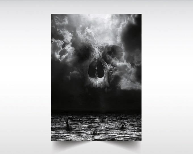 Demon In Me skull poster, Skull wall decor, Digital art, Dark art, Demons, Skull print, Gothic print, skull fine art, Skull Illustration