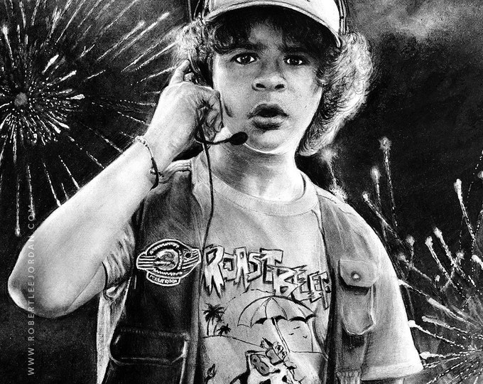 Original Stranger Things pencil art, Realistic pencil portrait, Stranger Things, Dustin, Dusty-Bun
