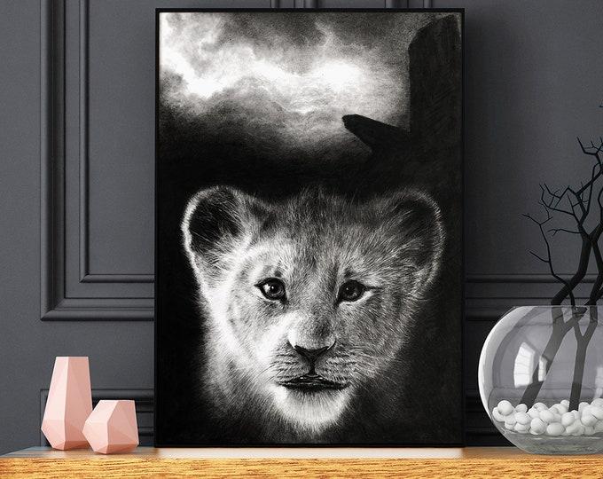 The Lion King original pencil drawing, Disney art, Lion King drawing, Lion King graphite charcoal drawing, Simba, gift idea