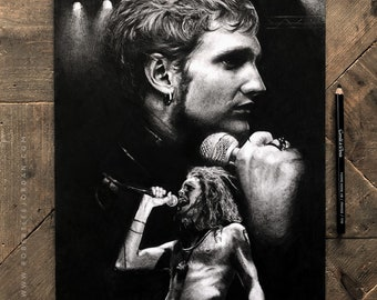 Original realistic Layne Staley pencil drawing - Black and Grey Alice in Chains  - Layne Staley portrait - Signed Layne Staley portrait