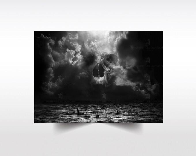 Demon In Me poster XL  - signed - Skull art - Skull gift - Wall Art