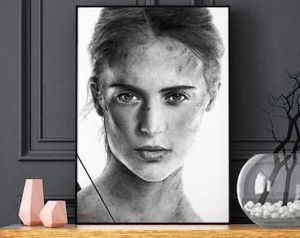 Alicia Vikander - the Tomb Raider - Realistic pencil portrait - Signed print - Lara Croft poster - gift