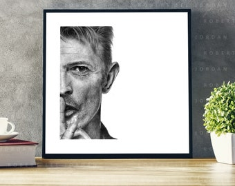 David Bowie - Realistic pencil portrait - Signed print - Poster wall art - Christmas gift