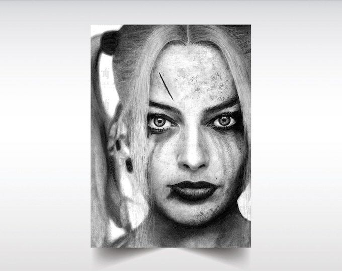 Harley Quinn print, realistic pencil portrait, Margot Robbie poster, Suicide Squad, Birds of Prey, Gift idea for Joker fans, Wall art