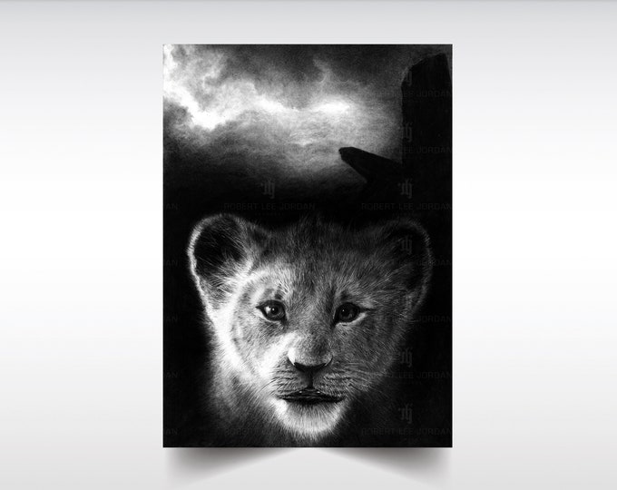 The Lion King limited edition print - Limited series of only TEN prints of my original pencil portrait, signed and numbered.