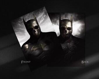 Dark Knight double-sided MINIATURE OPEN EDITION print, Batman, fanart, comic art, skull art