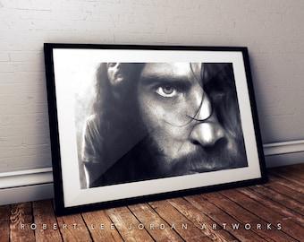 Chris Cornell black and grey portrait poster - Realistic pencil portrait - Signed print - gift - Soundgarden - Loud love
