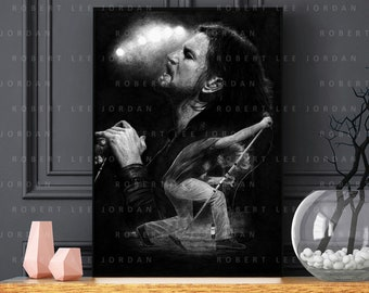 Pearl Jam black and grey poster - Eddie Vedder portrait - Realistic pencil portrait - Signed print - gift - Wall Art