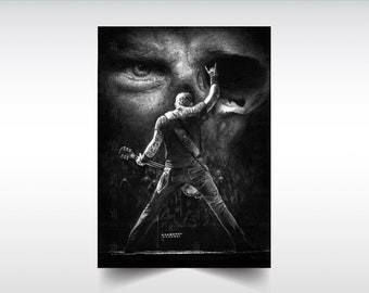 Metallica poster, James Hetfield print, Metallica skull wall art, Gift idea for Metallica fans, Heavy Metal fans, mancave wall art, birthday