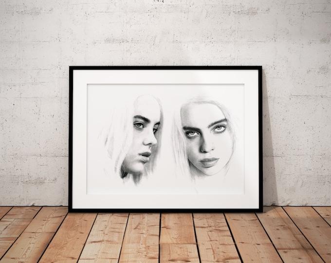 Billie Eilish Black and Grey poster - Billie Eilish portrait - Realistic pencil portrait - Signed print - gift - Bad Guy - Billie Eilish Wal