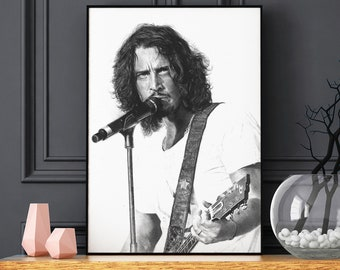 Chris Cornell black and grey portrait print - Realistic pencil portrait - Signed print - gift - poster - Soundgarden - Loud love