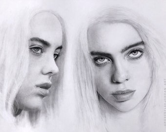 Billie Eilish graphite pencil drawing - Billie Eilish original portrait - Realistic pencil portrait