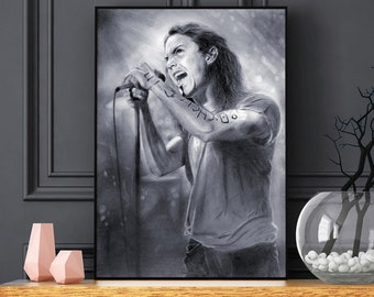 Eddie Vedder - Pearl Jam poster - Realistic pencil portrait - Signed print - Pearl Jam poster - MTV Unplugged - gift