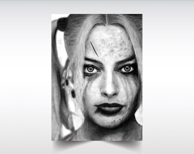 Harley Quinn realistic pencil portrait - black and white print - Margot Robbie pencil portrait - Signed print - Suicide Squad poster - Gift
