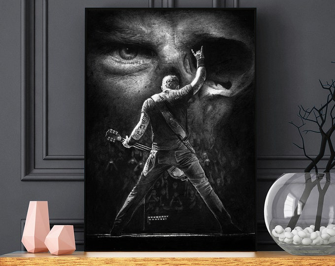 Featured listing image: Metallica Black and Grey Skull poster - James Hetfield portrait - Realistic pencil portrait - Signed print - gift - Wall Art
