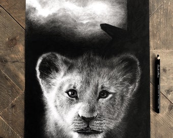 The Lion King original pencil drawing, Disney art, Lion King drawing, Lion King graphite charcoal drawing, Simba, gift idea