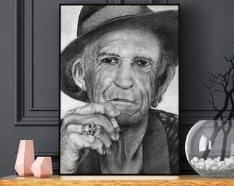 Keith Richards - the Rolling Stones - Realistic pencil portrait - Signed print - gift