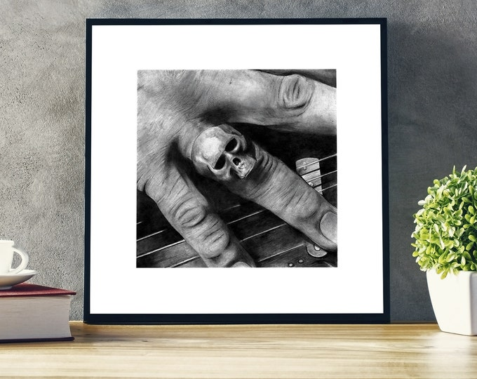 Keith Richards realistic pencil drawing - Skull Ring - the Rolling Stones - Realistic pencil portrait - Signed print - gift