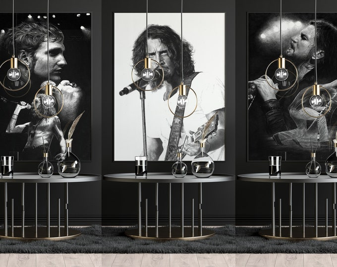 Grunge XL poster set of 3  - Alice In Chains poster - Layne Staley - Chris Cornell poster - gifts - Wall Art