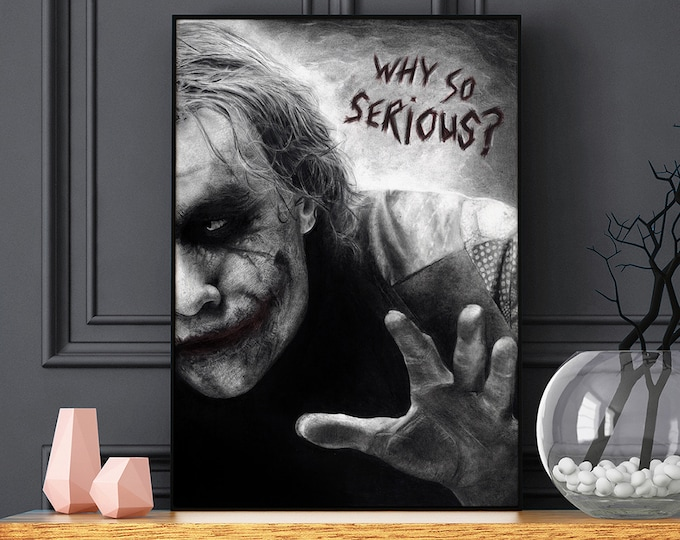 Featured listing image: The Joker poster - Heath Ledger - Realistic pencil portrait - Signed print - gift - Batman - Why So Serious?