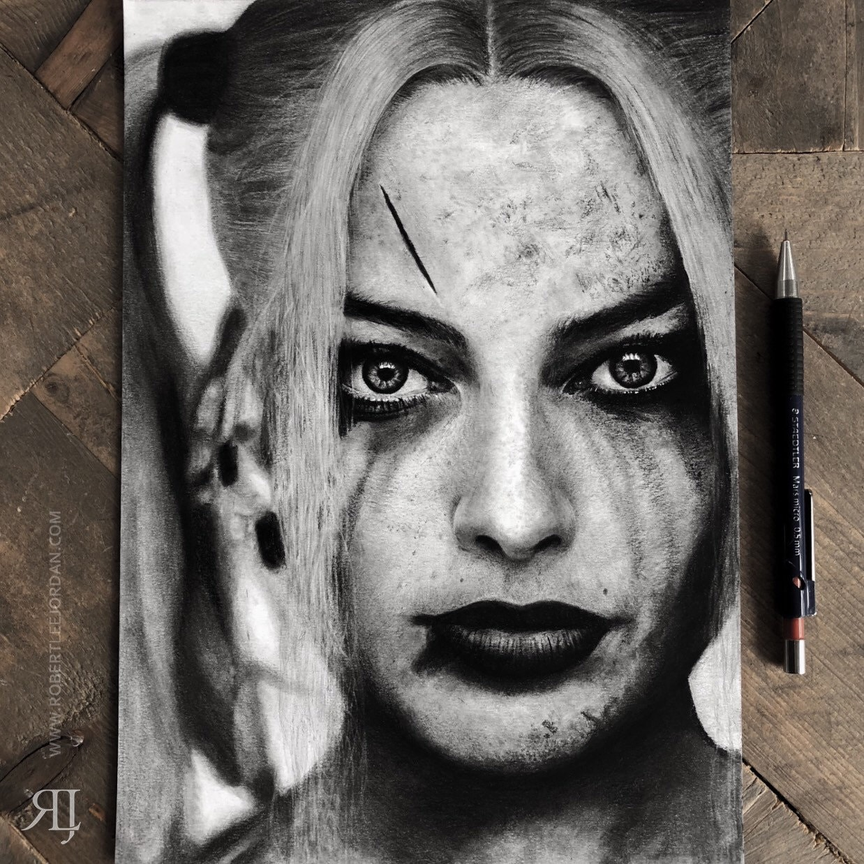 Harley quinn original pencil drawing margot robbie original