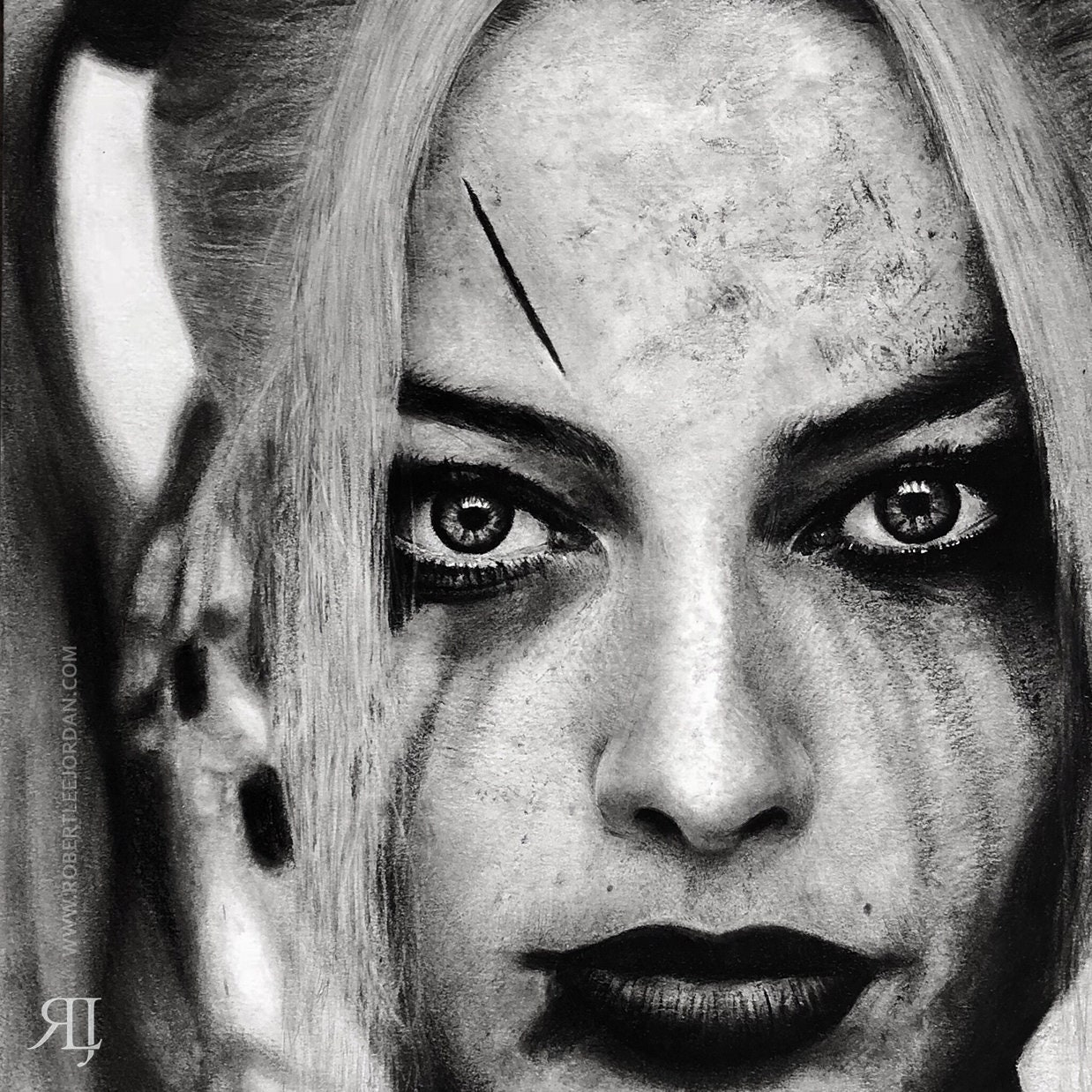 Harley quinn realistic pencil portrait black and white