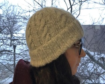Hand knitted light grey cabled hat