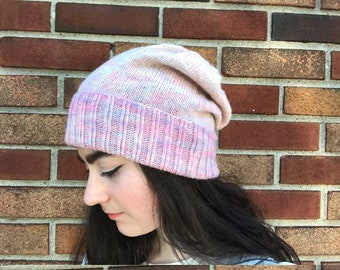 Cotton candy pink ombre beanie