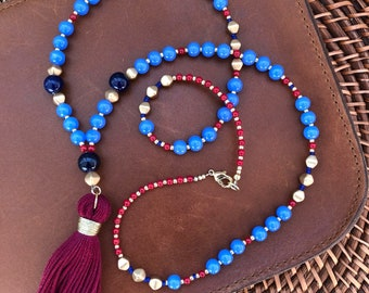 Bright Blue and Maroon Beaded Tassel Necklace