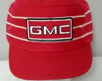 0ec74e2edc3 Vintage GMC General Motors Red Snap Back Men s Mesh Trucker Hat Cap