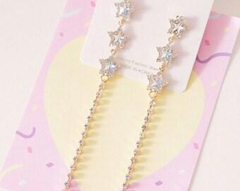 Drop star earrings, star earrings, long earrings