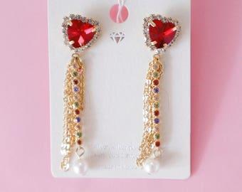 Drop heart earrings, heart earrings, korean earrings