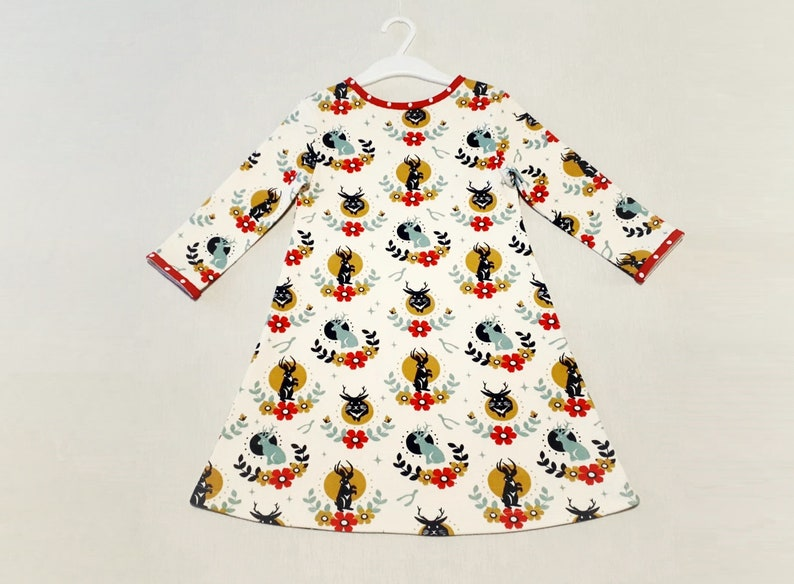 Christmas toddler dress organic cotton 34 sleeves present for girl animal floral print baby dress trapeze  sweatshirt kids dress white red