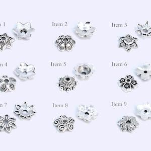 6x5MM Bead Cap Antique Silver Tone Zinc Alloy 50 Pcs Bulk Lot Options 63176-2346