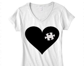 Autism Awareness T-Shirt: Women's V-Neck - Heart & Puzzle Piece