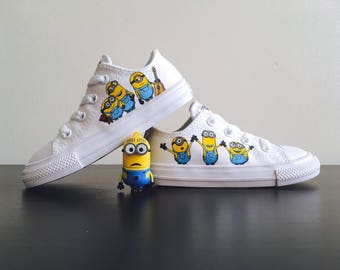 997998319d56 Custom hand-painted shoes - Minions - white canvas Converse low-tops. Made -to-order customised trainers