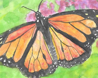 Watercolour Monarch Butterfly Print Day of the Dead