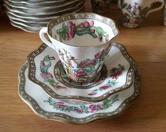 vintage coalport indian tree pattern , tea trio scallope edge