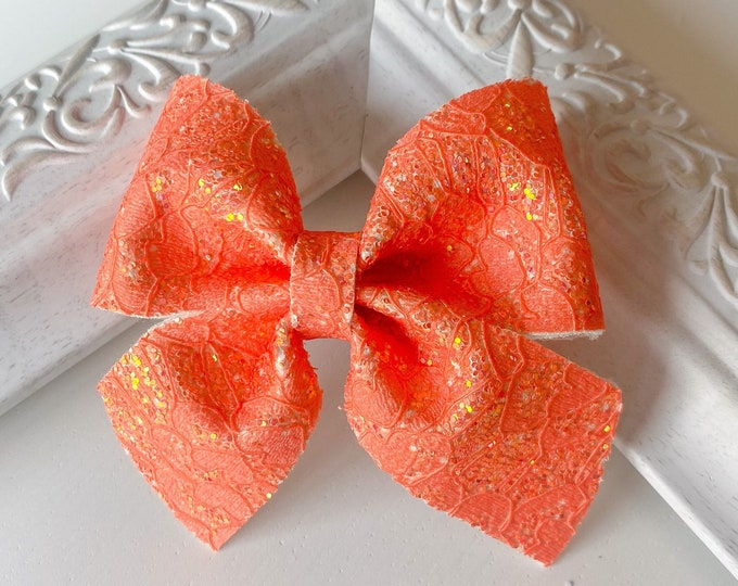 Orange Lace Leather // Fir Hairbow