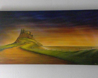 Original acrylic painting of Lindisfarne castle in Northumberland art canvas panoramic