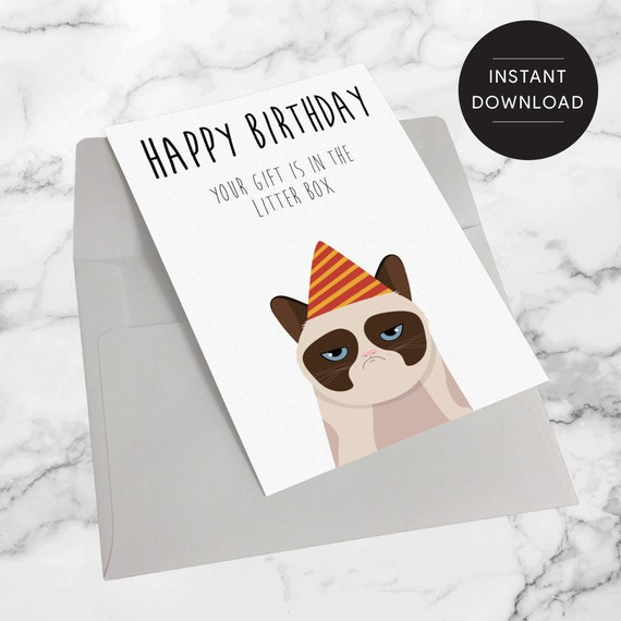Happy Birthday Card Grumpy Cat Cat Birthday Card Funny Etsy