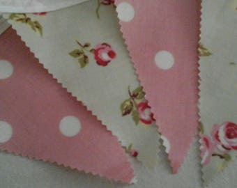 Pvc Pink Rose Bud Bunting 12 flags